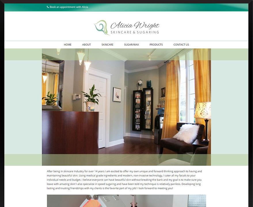 Web Design for Alicia Wright, Skincare & Sugaring