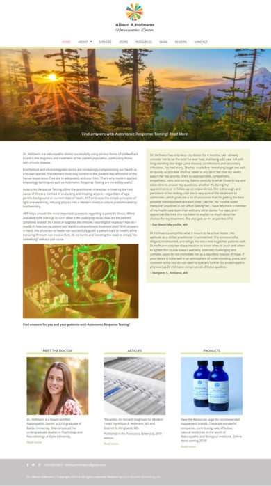 Web Development for Allison A. Hoffmann, Naturopathic Doctor
