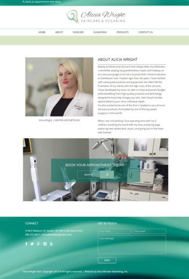 Wordpress Development for Alicia Wright, Skincare & Sugaring