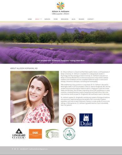 Wordpress Development for Allison A. Hoffmann, Naturopathic Doctor