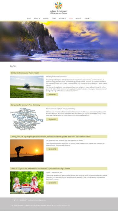 Web Design for Allison A. Hoffmann, Naturopathic Doctor