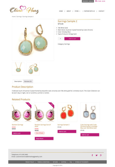 Custom Development for Olivia Haag Jewelry