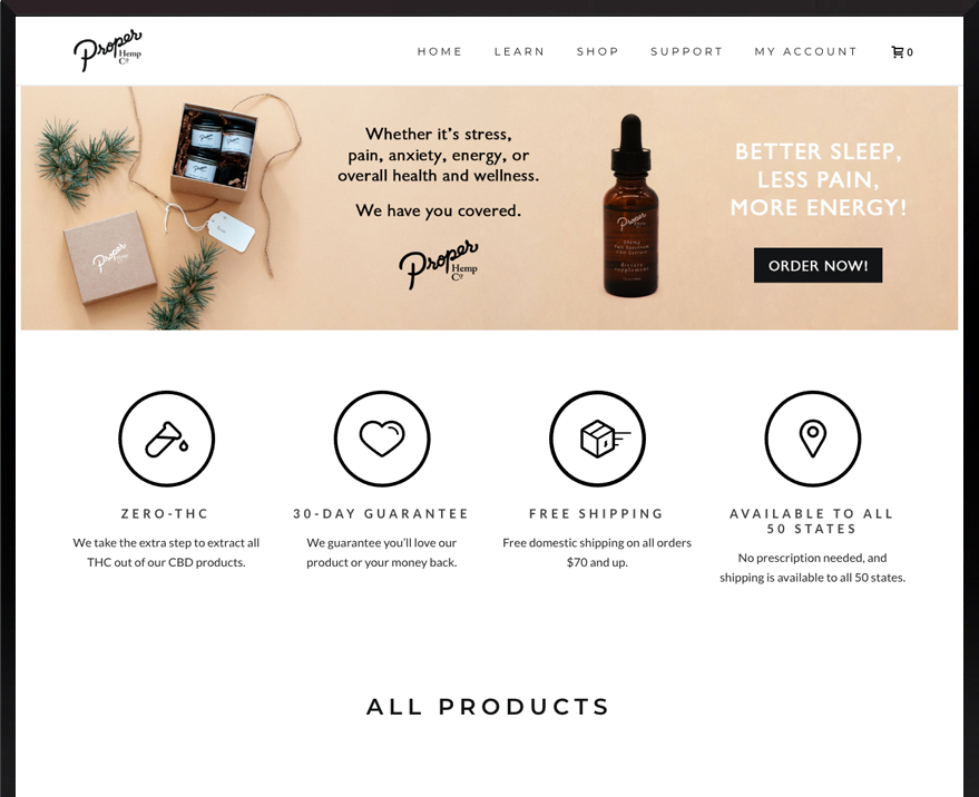E-commerce WordPress Proper Hemp Co
