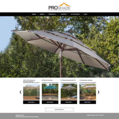Site Development for PROSHADE, OUTDOOR SHADE PRODUCTS