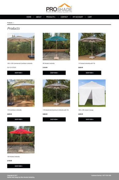 Web Design for PROSHADE, OUTDOOR SHADE PRODUCTS