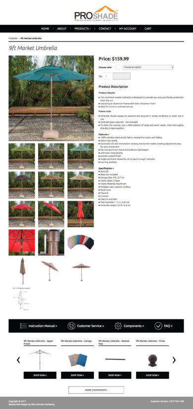 Web Development for PROSHADE, OUTDOOR SHADE PRODUCTS
