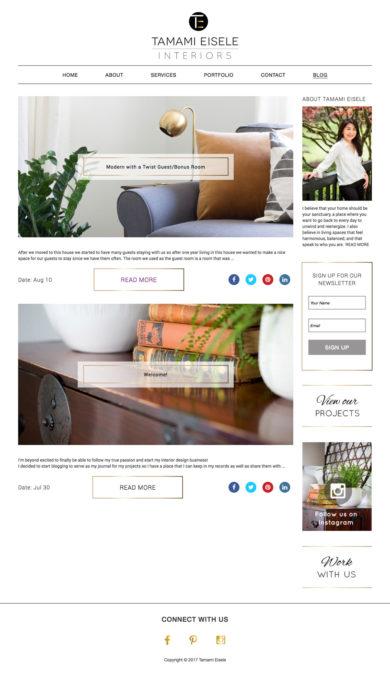 Web Design for Tamami Eisele Interiors