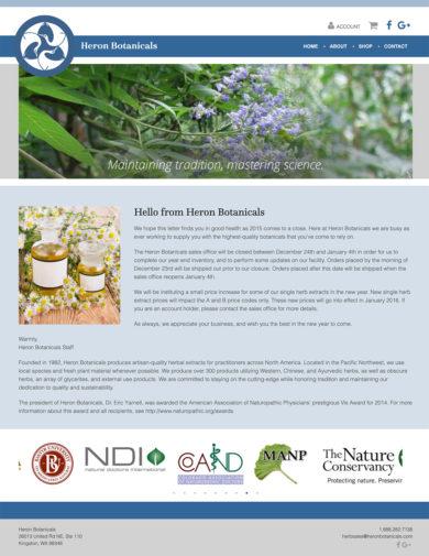 Site Development for Heron Botanicals