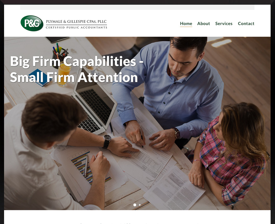 WordPress site for Plymale & Gillespie CPAs