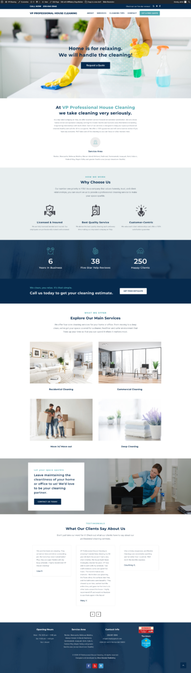 Wordpress Development for VP PROFESSIONAL HOUSE CLEANING