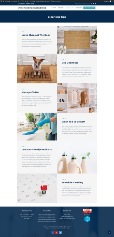 Web Development for VP PROFESSIONAL HOUSE CLEANING
