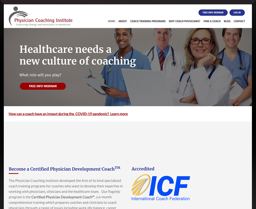 Custom WordPress Physician Coaching Institute