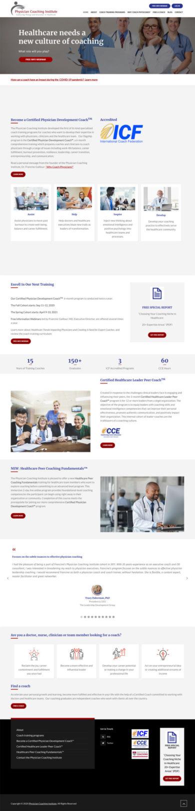 Web Design for Physician Coaching Institute