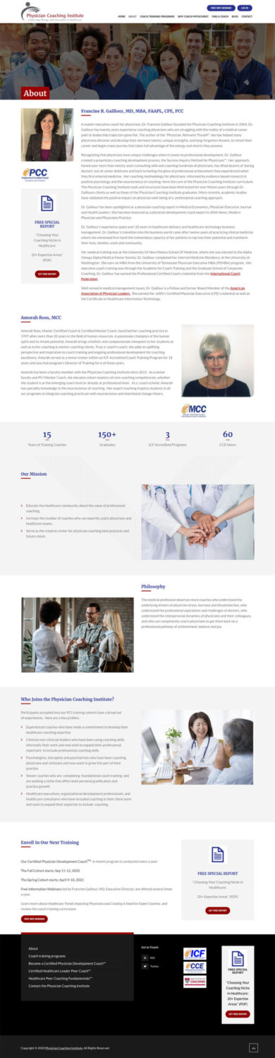 Web Development for Physician Coaching Institute