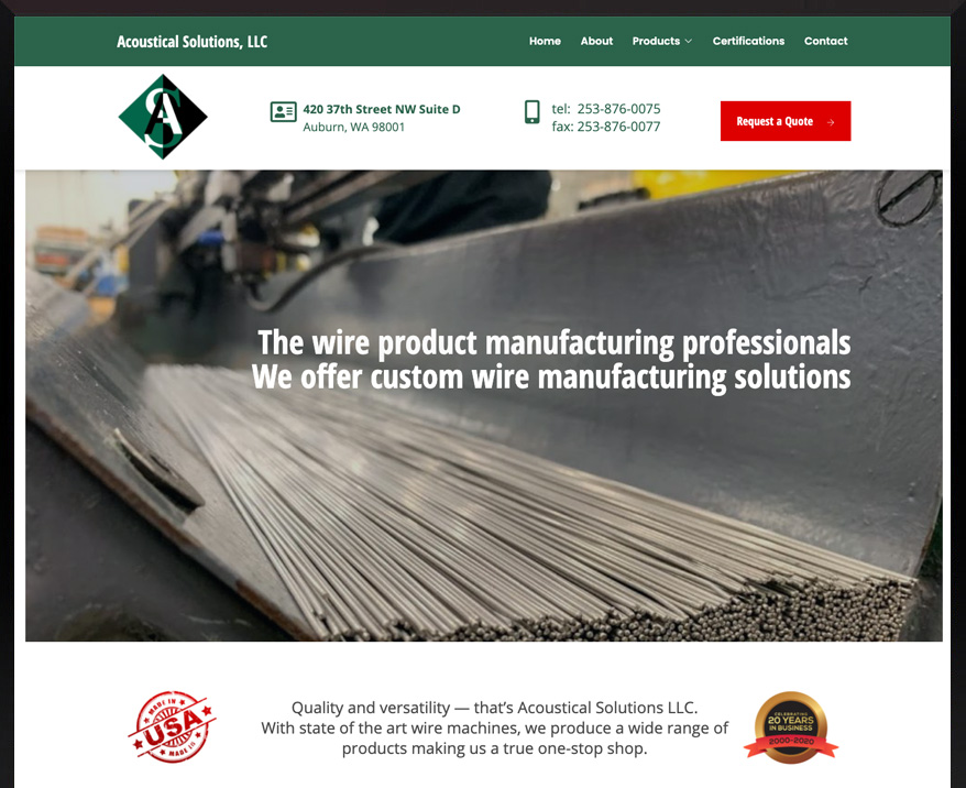 WordPress site for Acoustical Solutions
