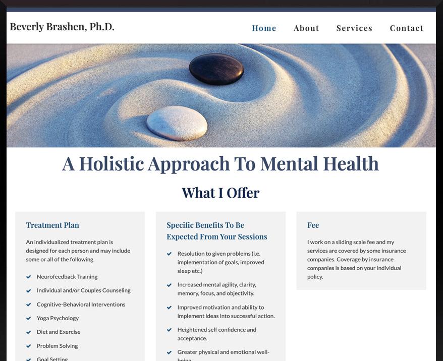 WordPress site for Beverly Brashen, Ph.D.