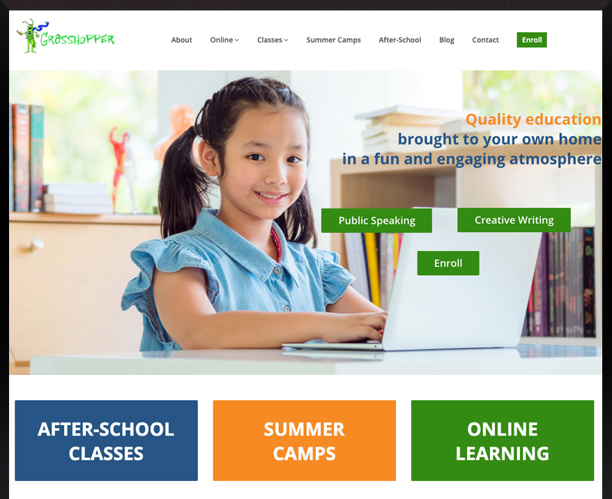 WordPress site for Grasshopper