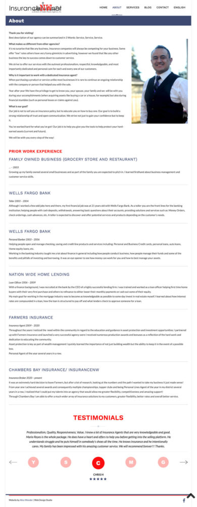 Wordpress Development for Mario Reyes Agency