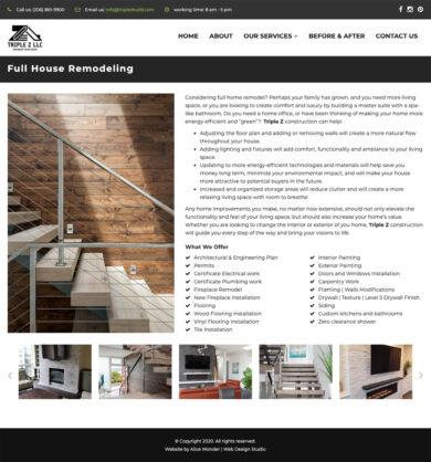 Web Design for Triple Z Construction