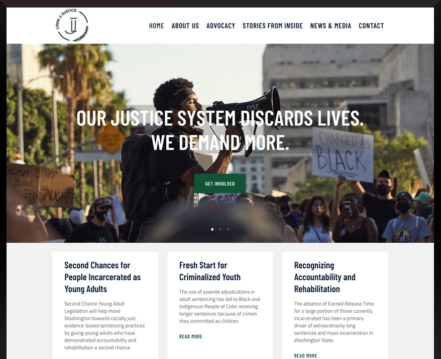 WordPress site for Look 2 Justice