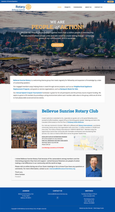Web Development for Bellevue Sunrise Rotary
