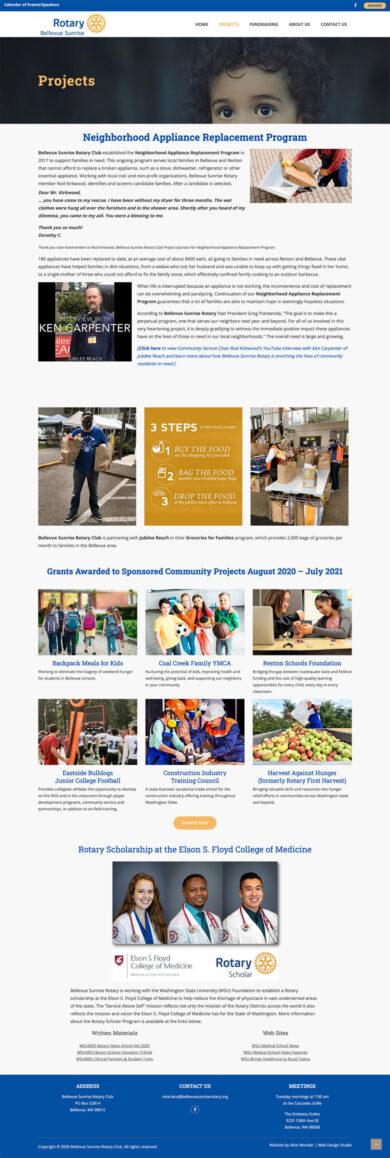 Web Design for Bellevue Sunrise Rotary