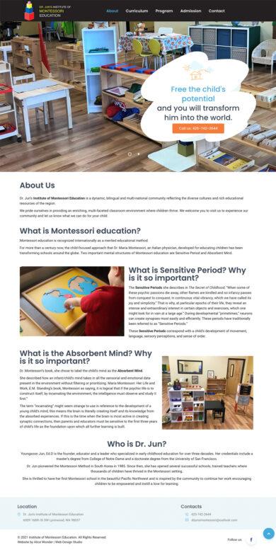 Web Design for Dr. Jun's Institute of Montessori Education