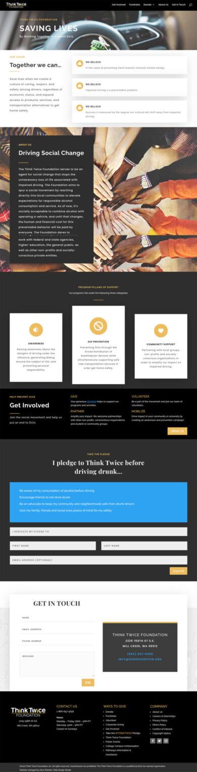 Web Development for Think Twice foundation