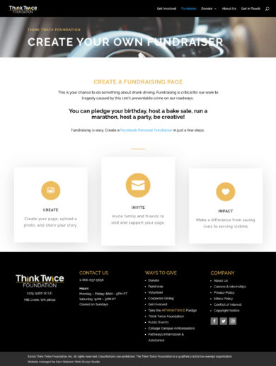 Web Design for Think Twice foundation